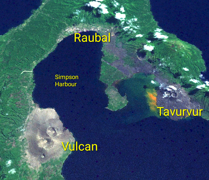 True-color image of the Rabaul caldera from space.
