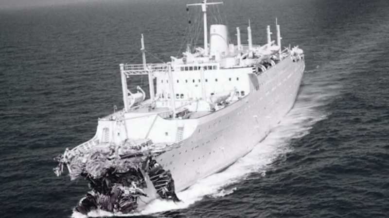 The bow of the MSStockholm after colliding with the SSAndrea Doria on July 25, 1956.