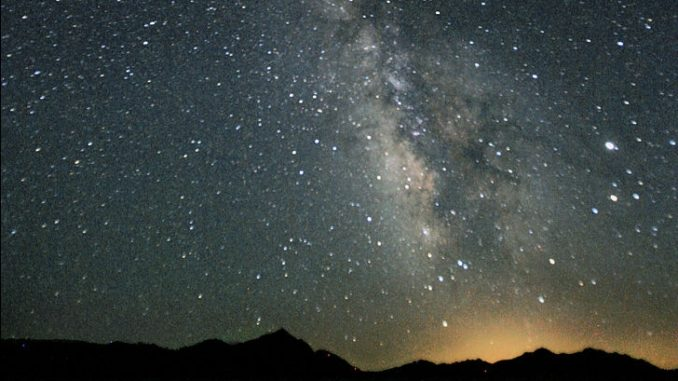 Photograph of the Milky Way in the night sky over Black Rock Desert, Nevada taken on 7/22/2007.