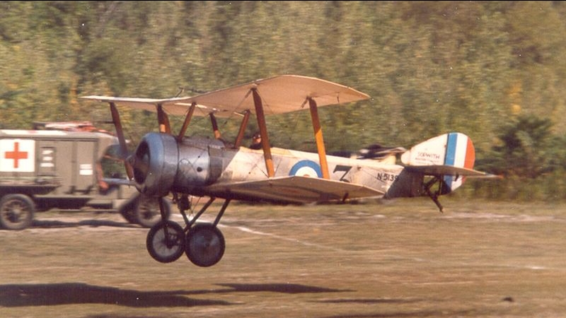 Richard King's authentic Sopwith Pup reproduction flying at Old Rhinebeck Aerodrome, early 1980s.