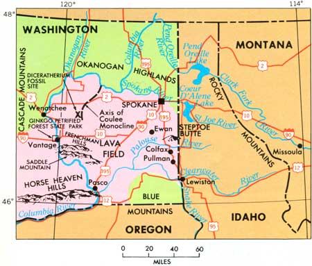 Geographic setting of the lava field and Channeled Scablands, eastern Washington.