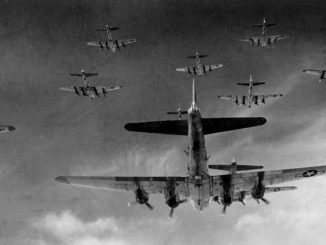 B-17 Flying Fortresses from the 398th Bombardment Group fly a bombing run to Neumunster, Germany, on April 13, 1945. Public domain.