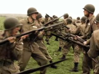 """Paratroopers of the 506th PIR, training in a scene from """"Band of Brothers""""."""