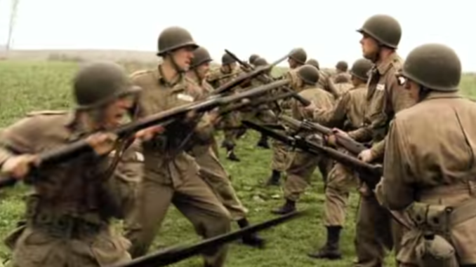 "Paratroopers of the 506th PIR, training in a scene from ""Band of Brothers""."