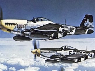 U.S. Army Air Force North American P-51 Mustang fighters from the 375th Fighter Squadron, 361st Fighter Group, from RAF Bottisham, Cambridgeshire (UK), in flight on 26 July 1944.