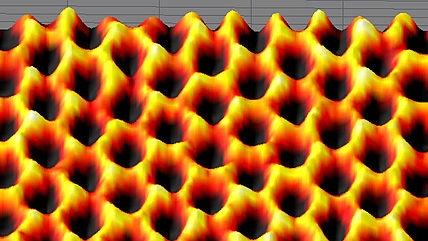 Scanning probe microscopyimage of graphene.