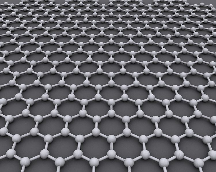The ideal crystalline structure of graphene is a 2D hexagonal grid.