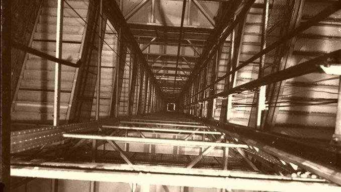 Elevator shaft, circa 1936.