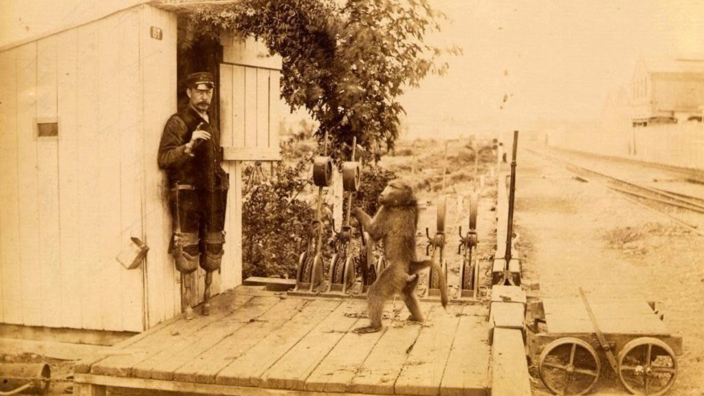 Switchman James Wide and his helper, Jack. Circa 1880s, public domain.