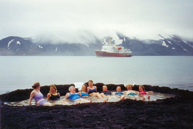 Tourists soaking up Deception Island.