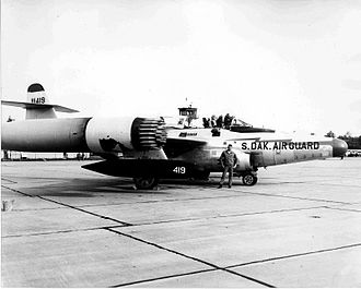 F-89D loaded with rockets. 114th Fighter Interceptor Group, headquartered at Sioux Falls, in 1958.
