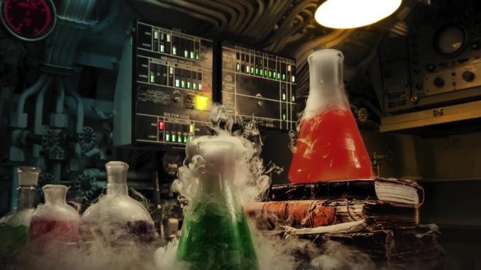 Mad scientist's laboratory.