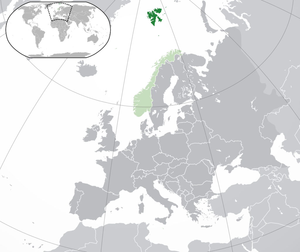 Location of Svalbard (dark green) – in Europe (green & dark grey) – in Norway (green)