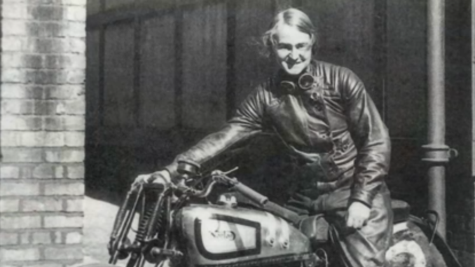 "Beatrice ""Tilly"" Shilling on her 1934 Norton racing motorcycle."