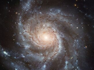 Spiral galaxy Messier 101, also known as NGC 5457, nicknamed the Pinwheel Galaxy.