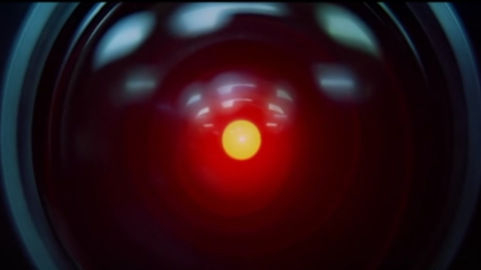 """The 'eye' of the HAL 9000 computer in a scene from the movie, """"2001: A Space Odyssey""""."""