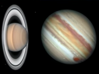 A montage of Saturn and Jupiter.