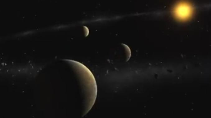 An artist's conception of exoplanets orbiting an alien star.