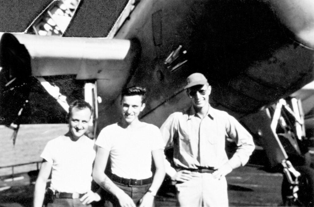 George H. W. Bush's flight crew, U.S. Navy. Left to right: John Delaney, Leo Nadeau, Bush.